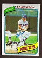1980 TOPPS #641 ED KRANEPOOL METS HOF AUTO SIGNED CARD JSA STAMP BK