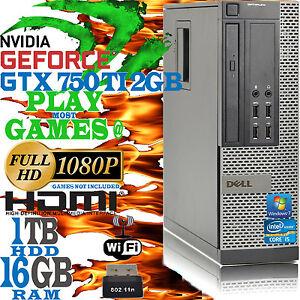 Ultra Fast Dell Quad Core i5 16GB 1TB Gaming Computer PC nVidia GTX 750 TI HDMI