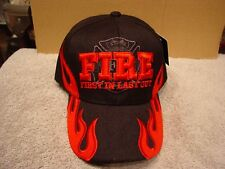 FIRE DEPARTMENT FLAMES FIRST IN LAST OUT FIREFIGHTER BASEBALL CAP ( BLACK )