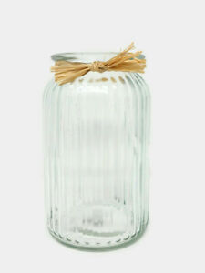 Ribbed Clear Glass Flower Vase with Raffia 18 x 11cm -  Floral Foliage Display