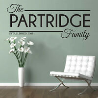 Personalised Family Name Wall Art Quote Kitchen Bedroom Lounge Est Sticker Decal