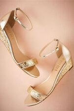 BHLDN 10 CRISTAL GOLD GLITTER WEDGE BRIDAL BILLY ELLA EVENING SOLD OUT $150 EUC