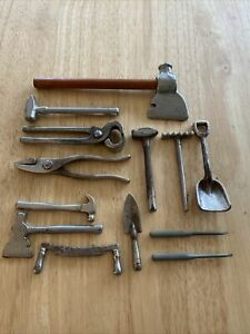 "Vintage metal miniature tools and garden equipment  .Range from 2 1/4"" to 6""."