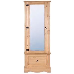 Corona 1 Door Wardrobe Mirrored 1 Drawer Solid Medium Wood Mexican Pine