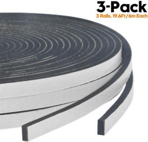 Foam Weather Stripping-3 Rolls, 1/4 Inch Wide X 1/8 Inch Thick High Density Soun