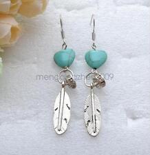 Retro style Heart Turquoise Ring Leaf Pendant Eardrop Earring Jewelry Accessory