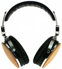 Handcrafted Noise Cancelling Real Wood Padded Ear Headphones with Mic Deep Bass