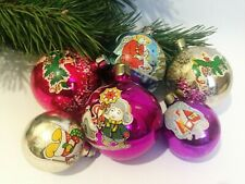 USSR Set of 6 orbs Christmas Glass Ornaments Christmas tree Decorations