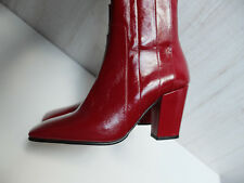 Zara Red Leather High Heel Ankle Boots Size UK 6 / EUR 39 / USA 8