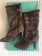 CLARKS 100% SHEEPSKIN SHEARLING SUEDE BUCKLE BOOTS BROWN SIZE 6