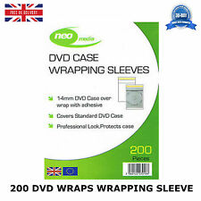 200 DVD WRAPS WRAPPING SLEEVE 14MM CASE BLANK WALLET NEW STANDARD HIGH QUALITY