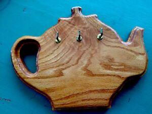 Teapot Shaped Apron or Key Rack Holder Wood Wooden 3 Hooks Wall Plaque RETRO