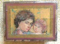 Edna Hibel Natural Marble Lidded Trinket Jewelry Box Mother Child 1985 Insert