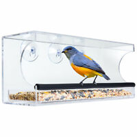 BCP Extra Wide Acrylic Window Bird Feeder w/ Perch, Drain Holes, Tray - Clear