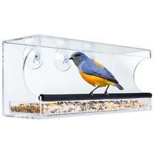 Bcp Extra Wide Acrylic Window Bird Feeder w/ Perch, Drain Holes, Tray - Clear