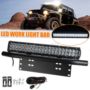 20inch LED Light Bar Spot DRL Driving Beam 23'' Number Plate Frame Bumper + Wire