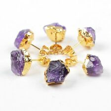 1Pair Rough Raw Natural Amethyst Druzy Crystal Gold Plated Stud Earrings HG1151