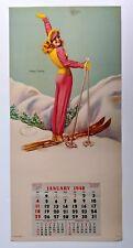 1948 Pin Up Girl Picture Calendar w/ Sexy Skier Happy Landings by Billy DeVorss