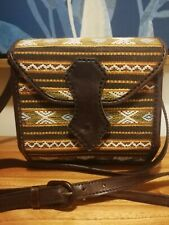 Vintage Kilim Leather Crossbody Box Bag