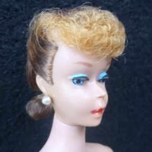 Vintage Ponytail Barbie #5 With Factory set Hair Unusual Frosted? BW Swimsuit