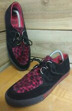 Underground England Creepers - Leather & Pink Leopard Print - brothel pimp shoes
