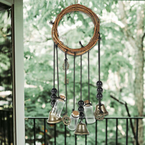 """5"""" Witch Bells Witchy Wind Chimes Door Wall Hanging Witch Bells Handmade Witch"""