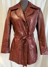 Vintage Avant Garde Leather Brown Coat Jacket Faux Fur Size 11/12