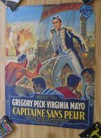 CAPITAINE SANS PEUR affiche cinema originale 160x120 cm '51 ENTOILEE ETAT !