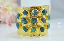OttomanGems semi precious stone gold bracelet cuff bangle Emerald Handmade