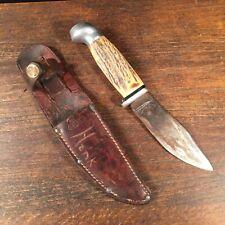 Vintage Hunting Knife Antler Handle Steel Fixed blade Ka-Bar Olean NY Sheath