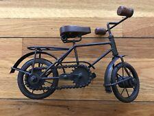 Rustic Brown Metal Bicycle w/ Wood Seat & Handlebar Grips for Shelf Mantel Decor