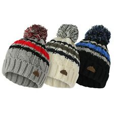 Boys Kids Knitted Striped Soft Thermal Cuffed Bobble Hat - Grey Cream Black
