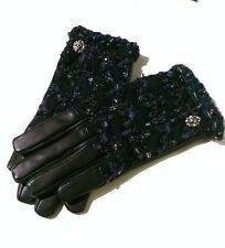 NEW CHANEL   Navy-Black  Tweed-Leather Gloves  Size 7,5