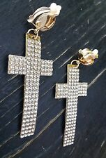 Large  CLIP ON RHINESTONE CROSS DANGLE EARRINGS. BLINGY NWOT! Gold tone