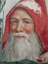 Christmas Postcard Old World Santa Father Hood Embossed Germany Silver 1911
