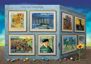 Sierra Leone Art Stamps 2016 MNH Vincent Van Gogh Sunflowers Starry Night 4v M/S