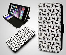 Dachshund Cute Sausage Dog Pattern Design Leather Wallet Flip Phone Case Cover