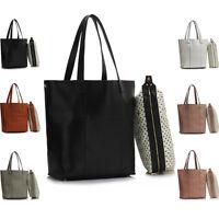 Faux Leather Ladies X-Large Tote Bag Weekender Women Shoulder Shopper Handbag UK