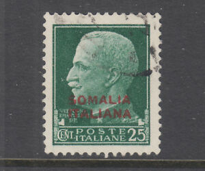 Somalia Sc 136 used. 1931 25c stamp of Italy with 2 line red overprint, sound