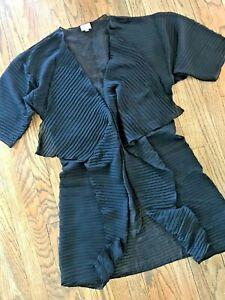 Lularoe Shirley Sheer Black Chiffon Waterfall Kimono Duster Cardigan Coverup M
