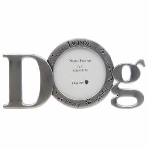 Dog Puppy Woof Carved Photo Frame Free Standing Paw Print Décor 18 cm
