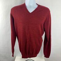 346 Brooks Brothers Red V-Neck Men's Merino Wool Sweater Jumper Size Large L