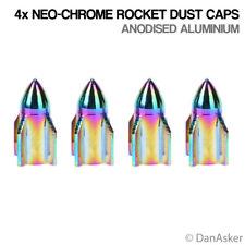 4x Neo-Chrome Rocket Car Bike Motorcycle Wheel Tyre Valve Aluminium Dust Caps