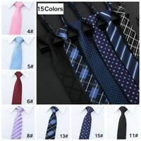 Lazy Men's Zipper Necktie Casual Business Slim Thin Striped Zip Up Neck Ties 5CM