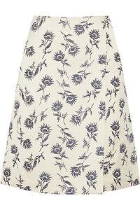 New TORY BURCH SATEEN Wrap effect linen-blend Floral JACQUARD SKIRT 2 4 10
