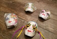 4 HAND-PAINTED CLAY MARDI GRAS MASKS, MASQUERADE, W/RIBBONS ~ NEW ORLEANS