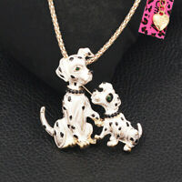 Betsey Johnson Enamel Crystal Double Dog Pendant Chain Necklace/Brooch Pin