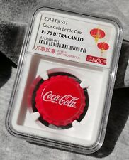 NGC PF70 2018 Fiji Coca-Cola Bottle Cap $1 6g Silver Proof Coin Coca Cola