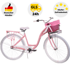 Damenrad 28 Zoll Damenfahrrad 3 Gang Korb & Licht Citybike Retro Classic Rosa