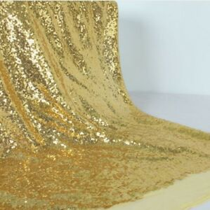 Gold Sequin Fabric Sparkly Shiny Bling Material Cloth 130cm Wide 1 1/2 metre